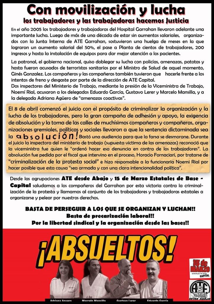 Absueltos! AteDesdeAbajo + 15 de marzo